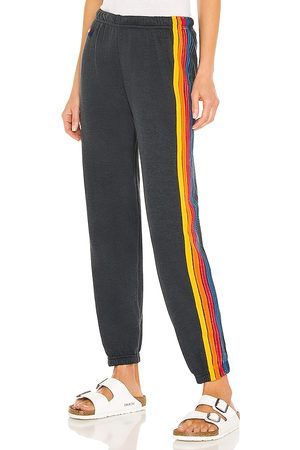 AVIATOR NATION 5 Stripe Sweatpant in - Black. Size L (also in XS, S, M).
