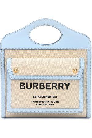Burberry Mini Tote Aus Leder Und Canvas