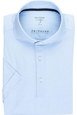 Olymp Herren Business - Kurzarm-Hemd Level Five 24/7 Body Fit Aus Jersey blau