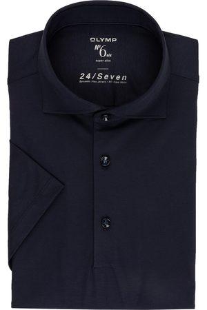 Olymp Herren Poloshirts - Jersey-Poloshirt No. Six 24/7 Super Slim Fit blau