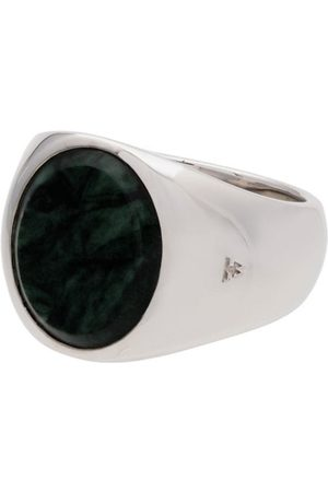 Tom Wood Herren Ringe - Metallic oval green marble sterling ring