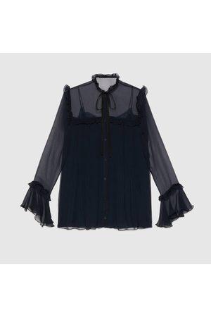 Gucci Damen Blusen - Gerüschte Hemdbluse aus Seidenchiffon