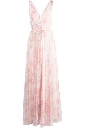 Marchesa Notte Damen Bedruckte Kleider - Floral-print V-neck gown