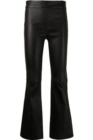 Helmut Lang Damen Leder & Lederimitathosen - Flared leather trousers