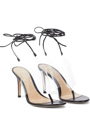 Gianvito Rossi Damen Sandalen - Zehensandalen Nera aus Leder und PVC