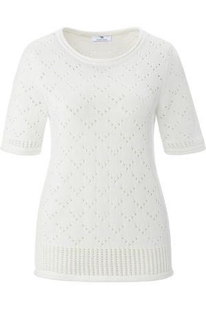 Peter Hahn Damen Pullover - Rundhals-Pullover 1/2-Arm weiss