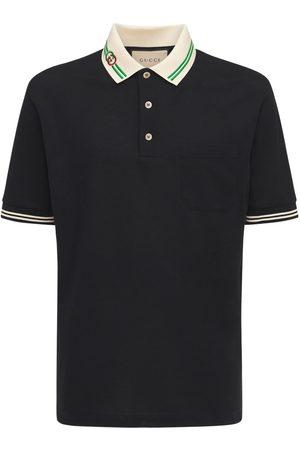 Gucci Herren Poloshirts - Polohemd Aus Baumwollpiqué Mit Interlocking G