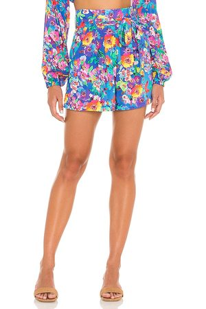 Luli Fama Water Blossoms Tie Waist Shorts in - Blue. Size L (also in XS, S, M).