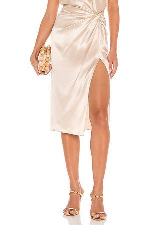 Amanda Uprichard X REVOLVE Ansley Skirt in - Metallic Neutral. Size L (also in XS, S, M).