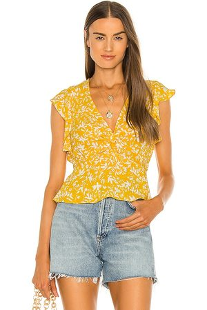 BCBG Max Azria Flutter Sleeve Blouse in - Yellow. Size L (also in XS, S, M).