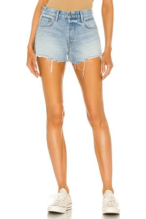 GRLFRND Lyric High Rise Split Hem Short in - Blue. Size 23 (also in 26, 24, 25, 27, 28, 29, 30, 31, 32).