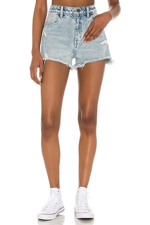Show Me Your Mumu Arizona High Waisted Shorts in - Blue. Size 24 (also in 26, 25, 27, 28, 29, 30, 31).