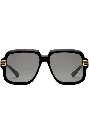 Gucci Herren Sonnenbrillen - Logo print oversized-frame sunglasses