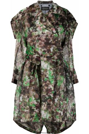 Mr & Mrs Italy Blossom camouflage-print trench coat