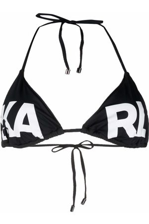Karl Lagerfeld Logo-print halterneck bikini top