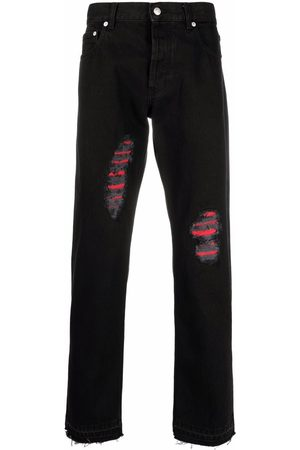 Alexander McQueen Ripped-detail slim-fit jeans