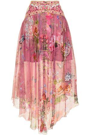 Camilla Floral-print silk midi skirt