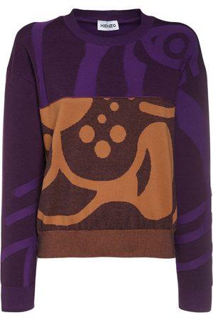 Kenzo Pullover Aus Wollstrick Mit Intarsien