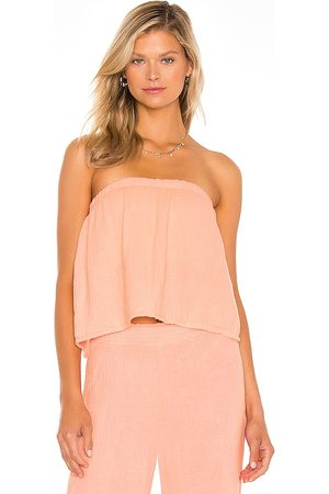 Bobi Beach Gauze Strapless Top in - Pink. Size L (also in XS, S, M).