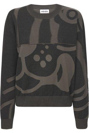 Kenzo Damen Shirts - Pullover Aus Wollstrick Mit Intarsien