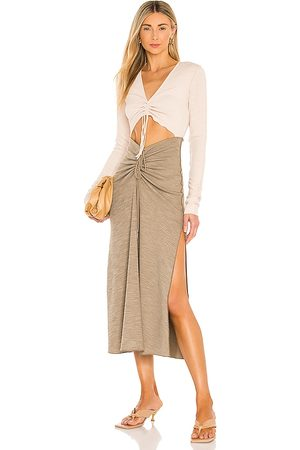 Song of Style Ezra Midi Dress in - Taupe. Size L (also in M).