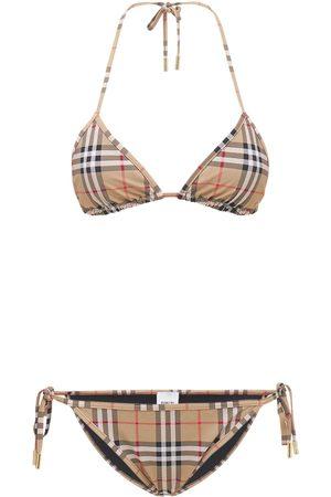 Burberry Bikini Aus Stretch-lycra Mit Karodruck