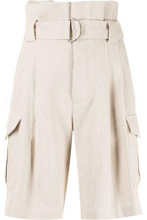 GOEN.J Damen Shorts - Belted paperbag-waist bermuda shorts