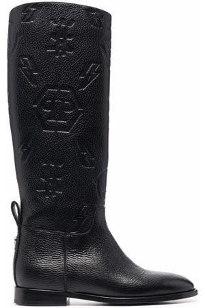 Philipp Plein Embossed-logo knee-high boots