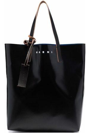 Marni Two-tone logo-print tote bag