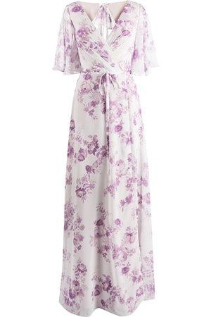 Marchesa Notte Damen Bedruckte Kleider - Floral-print rear-tie gown