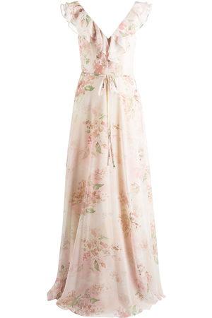 Marchesa Notte Damen Bedruckte Kleider - Desio floral-print ruffle dress