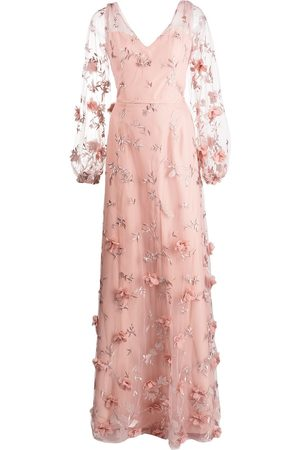 Marchesa Notte Avellino floral-embroidered dress