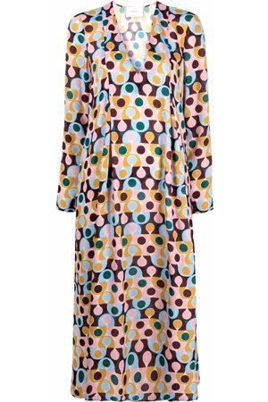 La Doublej Geometric-print V-neck dress