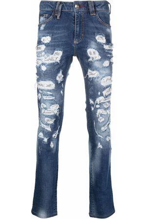 Philipp Plein Herren Slim - Mesh ripped-detail jeans