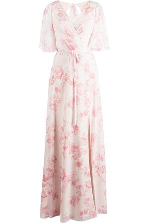Marchesa Notte Bridesmaids Floral-print short-sleeve gown