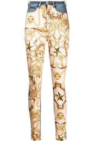 Philipp Plein Damen Skinny - Baroque-print skinny jeans