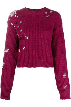 Dsquared2 Crystal-embellished distressed-effect jumper