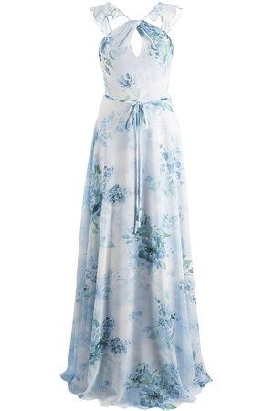 Marchesa Notte Floral-print cut-out gown