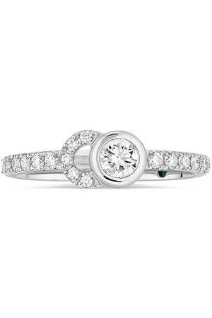 COURBET Damen Ringe - 18kt recycled white gold CO half-pavé laboratory-grown diamond set ring