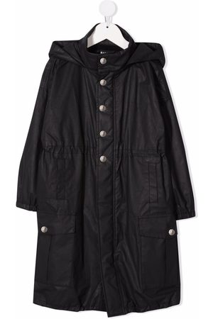 Balmain Logo-embroidered hooded trench coat