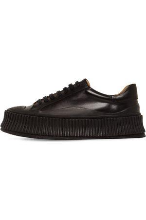 JIL SANDER Damen Sneakers - 40mm Hohe, Vulkanisierte Ledersneakers