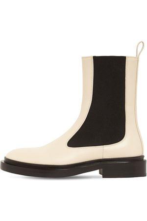 "JIL SANDER Damen Chelsea Boots - 30mm Hohe Chelseastiefel Aus Leder ""royal"""