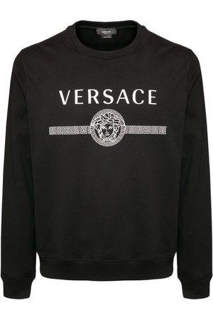 VERSACE Herren Sweatshirts - Sweatshirt Aus Baumwolle Mit Logodruck