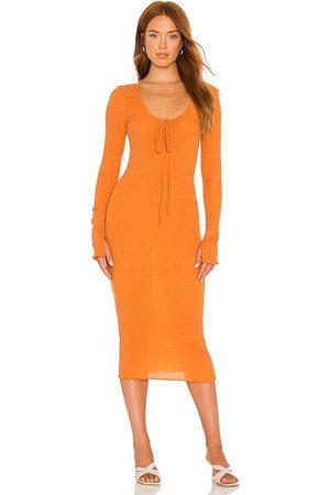Camila Coelho Naya Midi Dress in - Orange. Size L (also in XXS, XS, S, M).