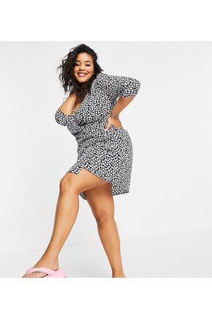 Wednesday's Girl Mini wrap dress in ditsy floral print-Black