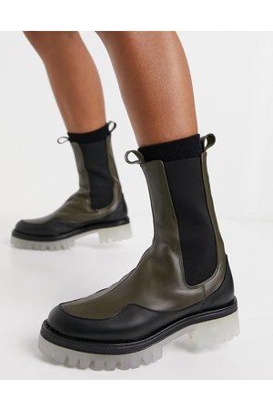 ASOS Admire premium leather chunky chelsea boots in khaki