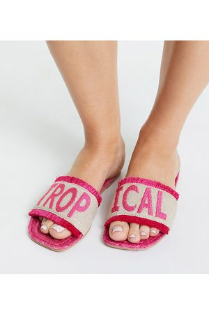 ASOS Wide Fit Jelly slogan espadrille mules in bright pink
