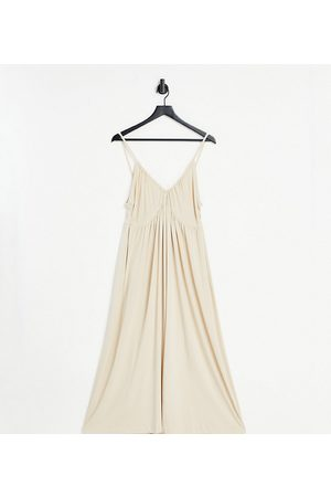ASOS Petite cupped detail maxi dress in stone-White