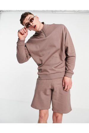 ASOS Tracksuit with oversized half zip sweatshirt and oversized short in washed brown