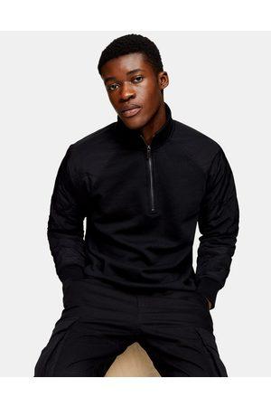 Topman Quilted raglan sleeve half zip sweat in black